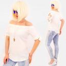 Großhandel Fashion & Accessoires: R87 Gebundene Damenbluse mit Schleifen, Weiß