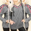hurtownia Fashion & Moda: BI595 Ciepła, Sportowa Bluza z Kapturem, Dekolt V