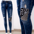 wholesale Jeanswear: B16842 Impressive jeans, lace and gold jets