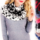 wholesale Scarves & Shawls: B10A57 Hairy, Double-sided Scarf, Dalmatian