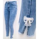 B16816 Women Jeans, Pants, Lace Bow, Blue