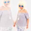 Großhandel Hemden & Blusen: R84 Gebundene Damenbluse mit Spitze, offene ...