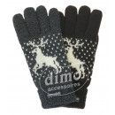 wholesale Gloves: Ladies knitted  gloves with reindeer motif