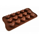A silicone form for pralines made of chocolate