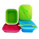 Lunch box silicone folding with cutlery