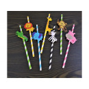 Paper straws 6 pcs animals