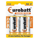 Alkaline Plus R20 batteries - 2 pieces