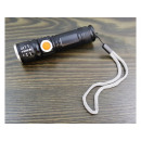 LED zoom flashlight. USB charging. Aluminum