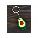 Rubber cactus and avocado keychain