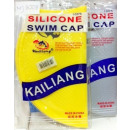 A silicone swimming cap