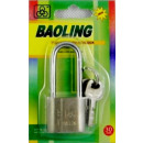 Chrome-plated padlock with 30 mm long ear