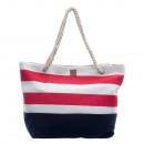 wholesale Handbags: CANVAS BEACH BAG WITH ROPE HANDLE