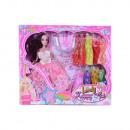 Großhandel Puppen & Plüsch: Puppe mit 8 Kleidern und Modeaccessoires