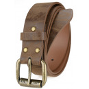 Fat men's leather belt JCB2 caramel