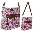 wholesale Handbags: 2478 Oil Owls Snow  Pink Purse Women's A4 HIT