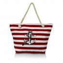 Großhandel Taschen & Reiseartikel: Damen  Schultertasche mit Anker 23048 RotAK