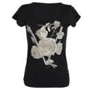 Großhandel Shirts & Tops: T-shirt Damen gute  Qualität TS006 Schwarz L/XL