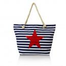 Großhandel Handtaschen: Damen  Schultertasche mit Stern  23041 Blau BB
