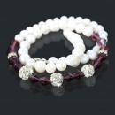 Großhandel Ketten: Modeschmuck  Perlenkette ( Hellrosa ) 80037