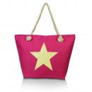 Großhandel sonstige Taschen: Damen Strandtasche  mit Stern 23057 Pink