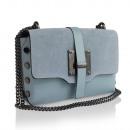 Großhandel Taschen & Reiseartikel: Damen Clutch Leder  Tasche Made in Italy hell blau
