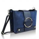 Großhandel Taschen & Reiseartikel: Damen Clutch echt  Leder Tasche Made in Italy blau