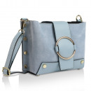 Ladies clutch leren tas Made in Italy lichtblauw