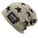 wholesale Headgear: Warm Slouch Unisex  Long Knit Beanie with star