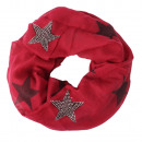 wholesale Fashion & Apparel: light long scarf with star pattern dark red