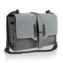 Großhandel Taschen & Reiseartikel: Damen Clutch Leder  Tasche Made in Italy grau