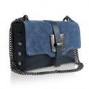 Großhandel Taschen & Reiseartikel: Damen Clutch Leder  Tasche Made in Italy blau