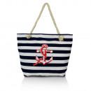 Großhandel Taschen & Reiseartikel: Damen  Schultertasche mit Anker 23053 Blau