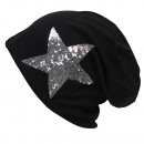 wholesale Fashion & Mode: Unisex Long beanie  with silver sequins Star