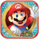 mayorista Articulos de fiesta: Super Mario - platos de papel 23x23cm, 8 PC, cuadr