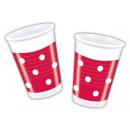 Rode stippen Set - plastic beker 200ml (10 stuks)