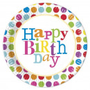 grossiste Articles de fête: Happy Birthday  Dots - assiettes en papier 8 pcs en