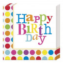 wholesale Household Goods: Happy Birthday  Dots - napkin 20 pcs 33 x 33 cm
