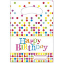 grossiste Articles de fête: Happy Birthday -  Dots sac parti / cadeau de 6 pcs.