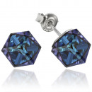 silver earrings  with swarovski Cubic Bermuda Blue