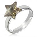 grossiste Bijoux & Montres: Bague en argent avec swarovski étoile Golden Shado