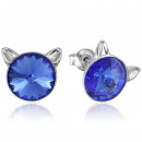 Silver Earrings with Swarovski Rivoli Cat Sapphire