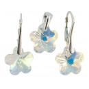 silver set with  swarovski Flower Aurore Boreale