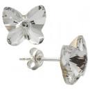 Silberohrringe mit Swarovski-Schmetterling C Klar