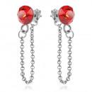 Silver Earrings with Swarovski Xirius Chain Siam