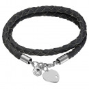 Leather Bracelate With Swarovski & Silver Pendant