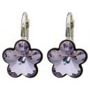 Großhandel Schmuck & Uhren: Silberohrringe mit  Swarovski Blume Lavendel