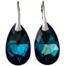 silver earrings  with swarovski Pear Bermuda Blue