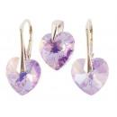 silver set with swarovski Heart Violet AB