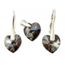 silver set with swarovski Heart Silver Night