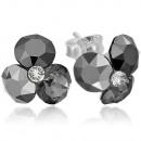 wholesale Jewelry & Watches: Silver earrings with swarovski Tri Xirius Jet Hema